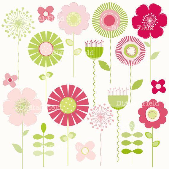 Pink and Green Mod Flower Clip Art Set.