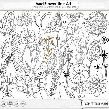 Mod Flower Line Art Illustration, Leaves Clip Art Doodles, Floral Graphics.
