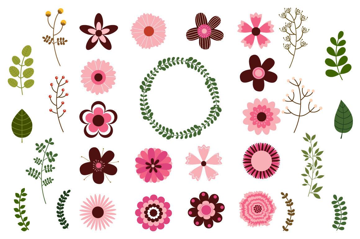 Mod flowers clipart, Single floral elements clip art By.