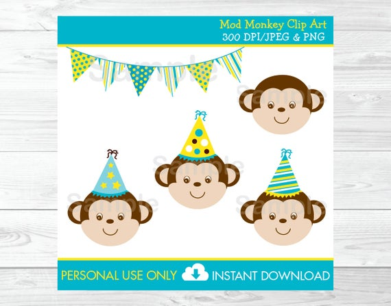 Cute Monkey Clipart / Monkey Birthday Clipart / Mod Monkey Birthday /  Yellow & Blue / PERSONAL USE Instant Download A234.