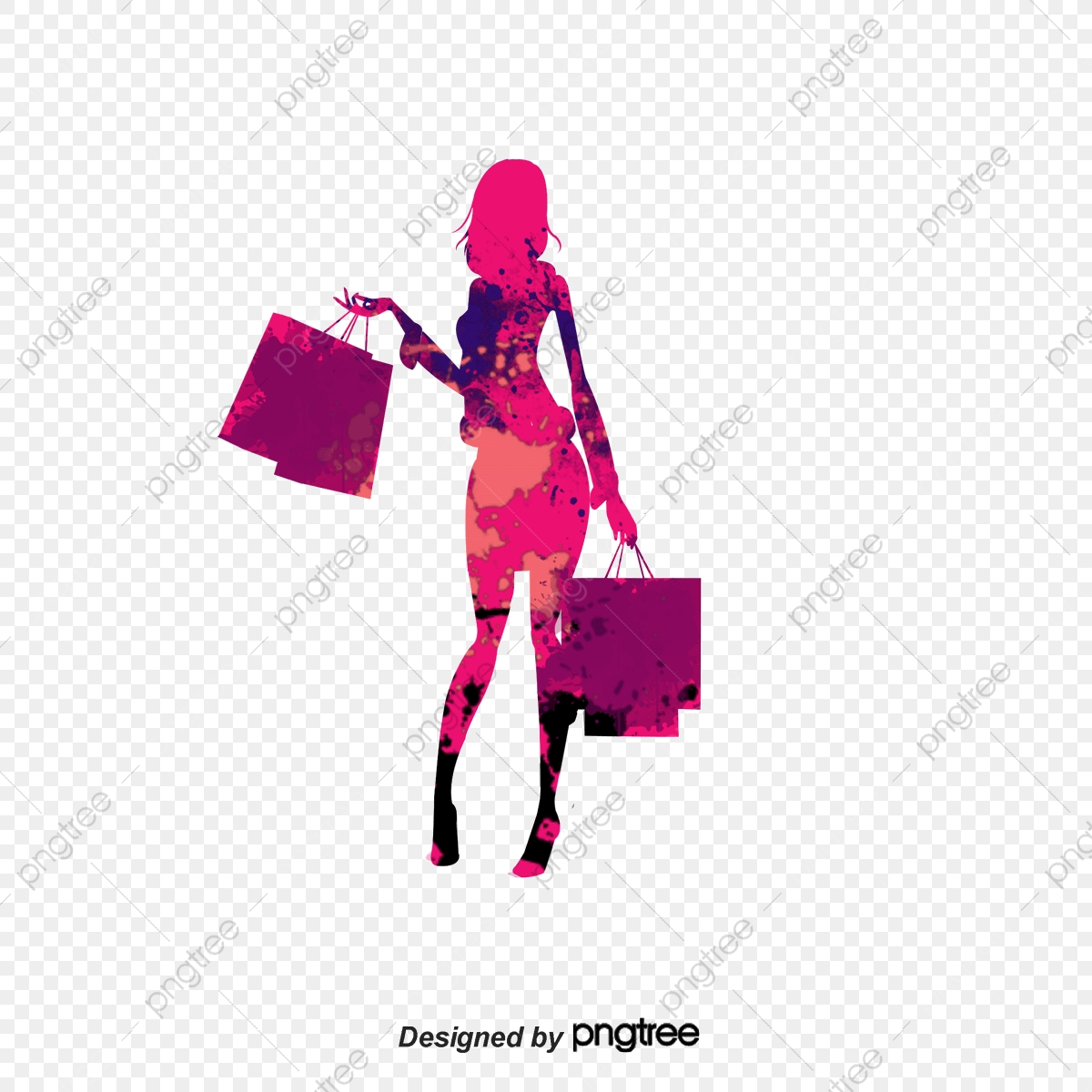 Desenhos De Aquarela Moda Shopping Girl Silhouette, Cartoon.