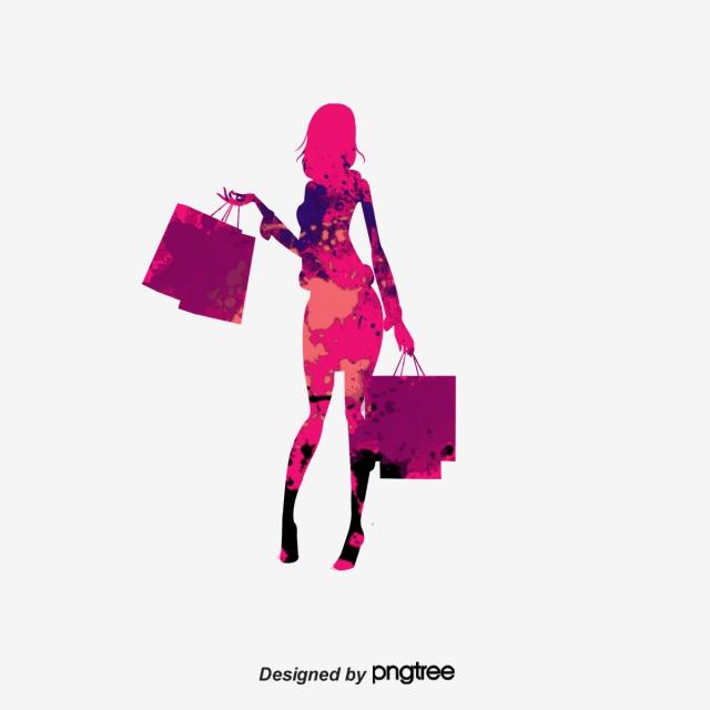 Download Free png Dessin De Mode De Shopping Girl Silhouette.