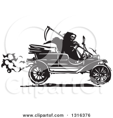 Clipart of a Black and White Woodcut Grim Reaper Driving an.