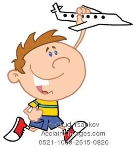 A Boy Playing With a Toy Airplane Clipart Image.