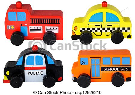 Clipart of Set of four wooden toy cars.