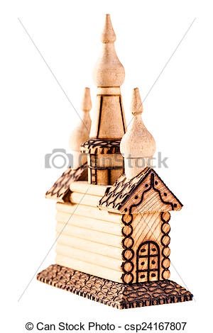 Stock Photography of Wooden church model.