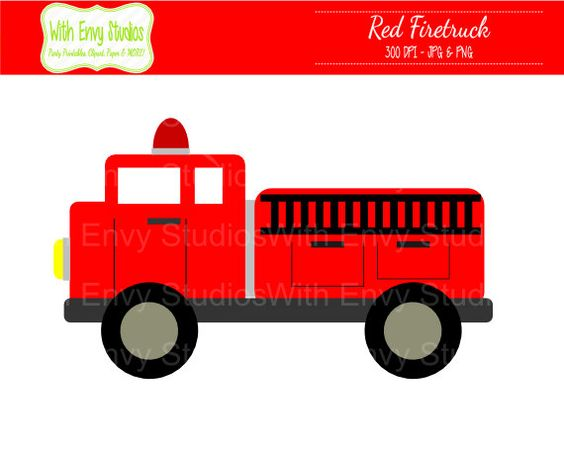 DOLLAR SALE Firetruck Digital Clipart Firetruck by WithEnvyPaper.