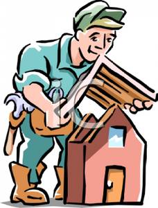 Cartoon of a Man Putting a Roof on a Model of a House.