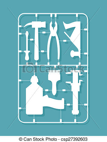 Stock Illustration of plastic model kits Construction tools. Set.