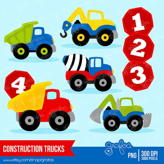 CONSTRUCTION TRUCKS digital clipart, Trucks clipart, Construction.