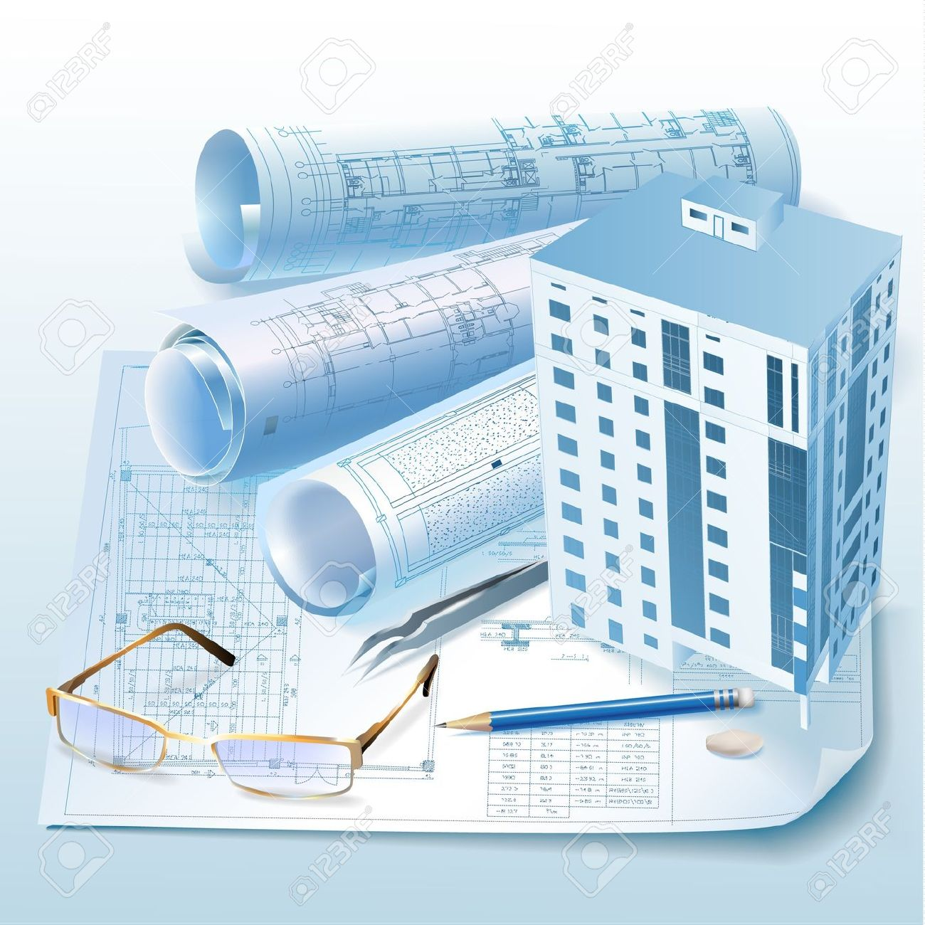 Architectural Background With A 3D Building Model Clip.