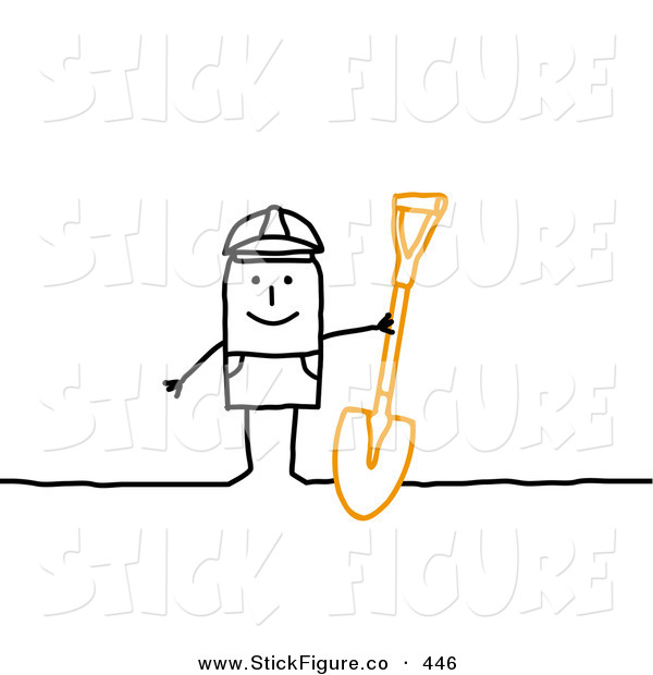 Clip Art of a Stick Figure Person Character Construction Worker.
