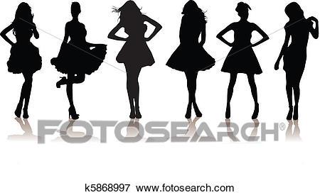 Beautiful model girls Clip Art.