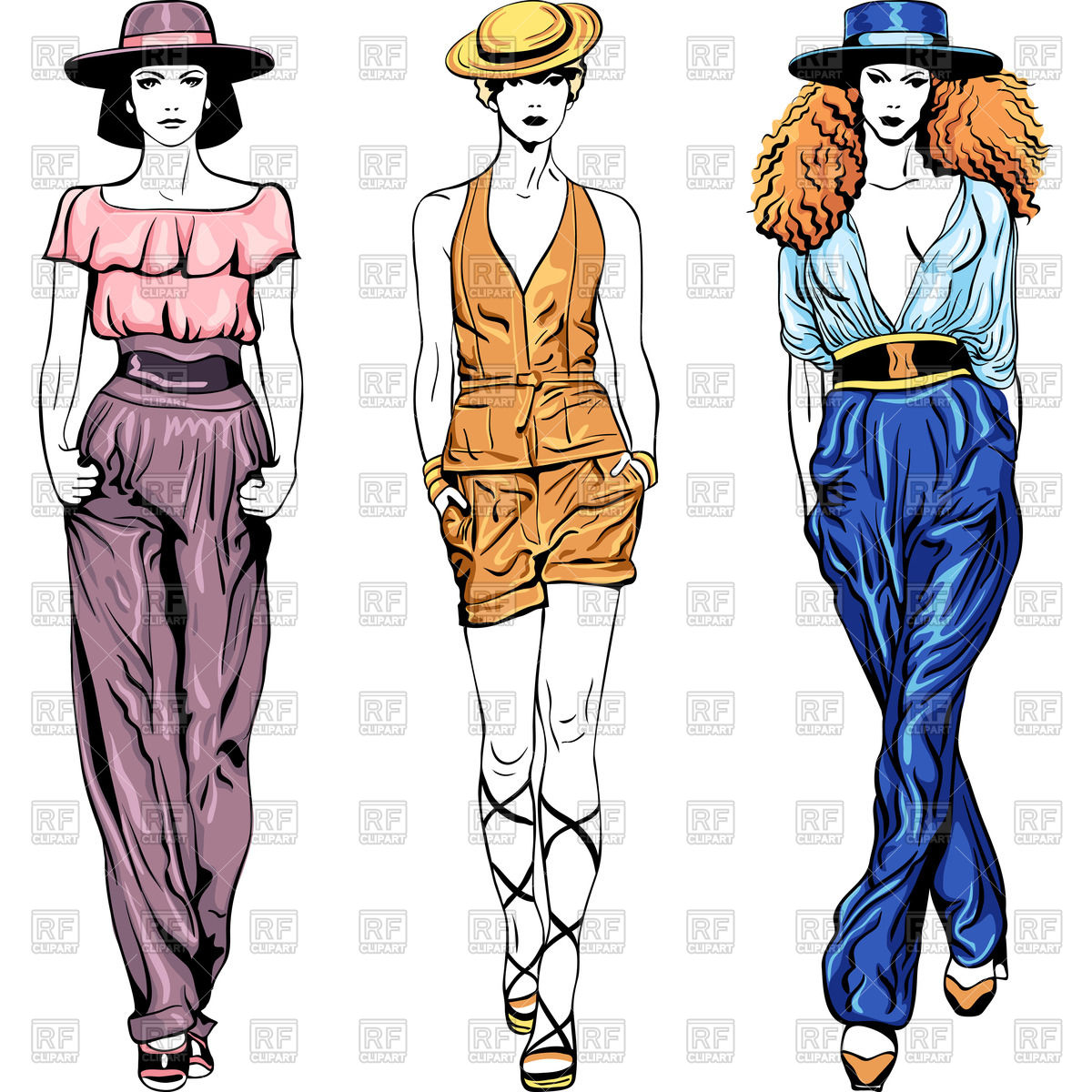 Fashion top models girls in trouser suits and hats Stock Vector Image.