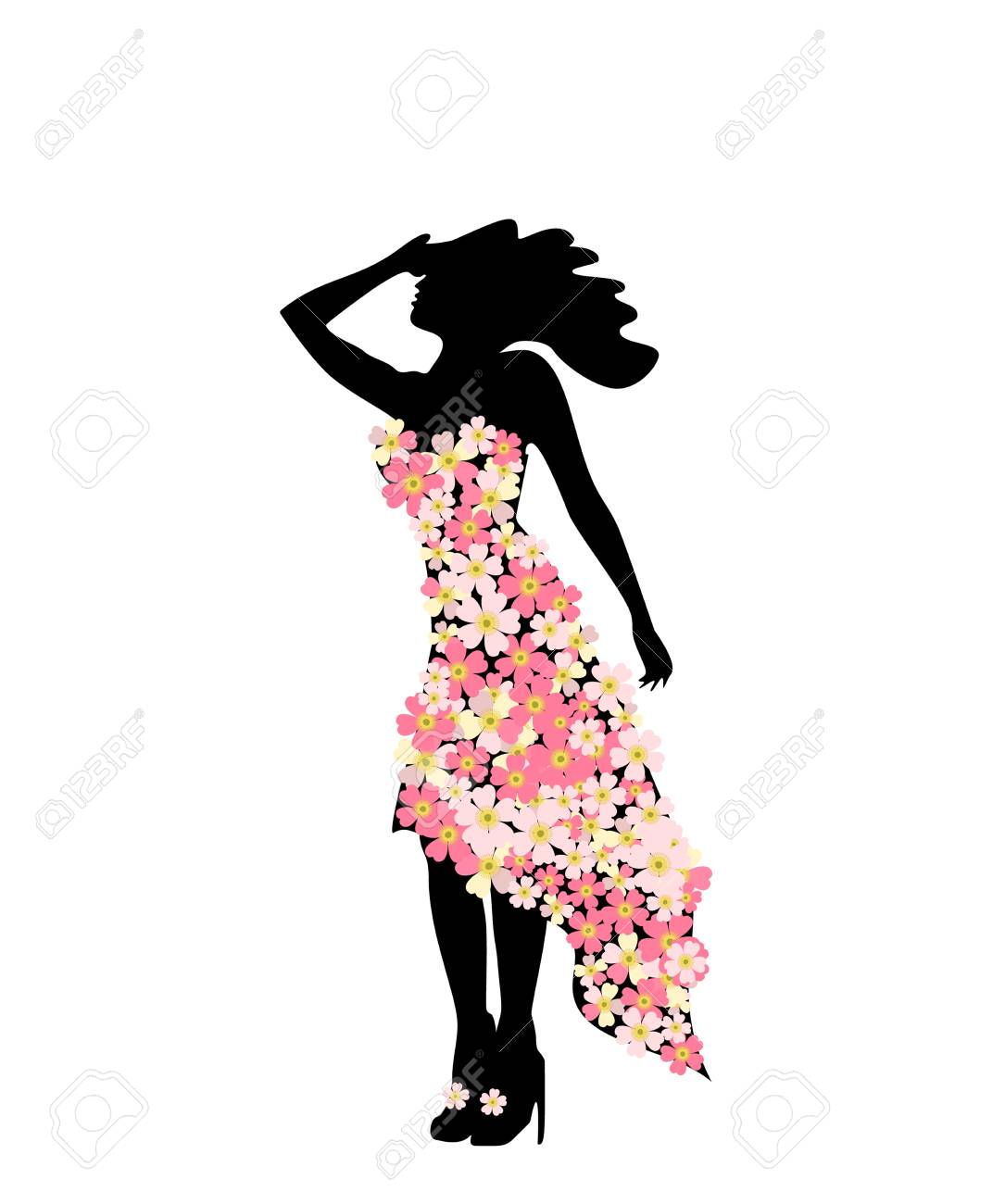 The figure of girl model in slinky dress floral festive fashion.