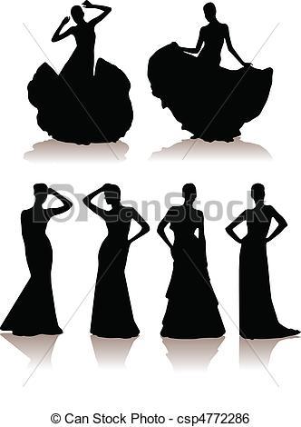 set of various beautiful model girls in dress..