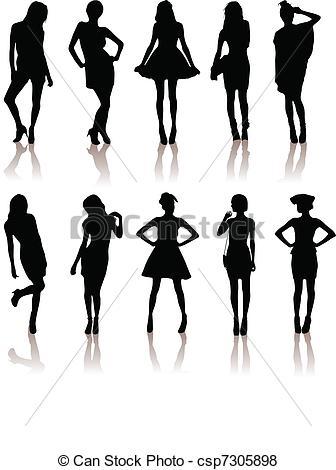set of various beautiful model girl.