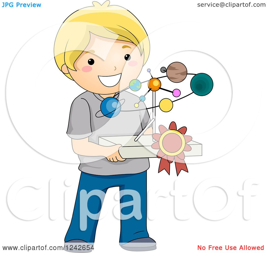 Clipart of a Blond Boy Holding a Solar System Science Project.