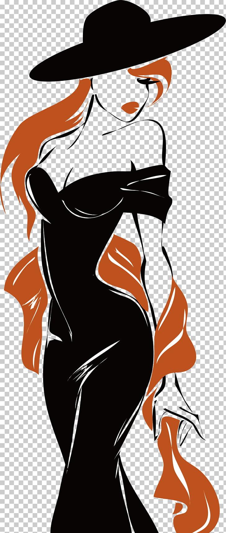 Fashion Model Logo, Cartoon model design, woman with wearing.