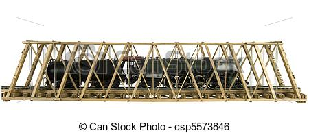 Stock Image of model bridge with brass model train.