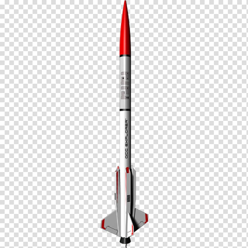 Red and white rocket illustration, Estes Industries Model.