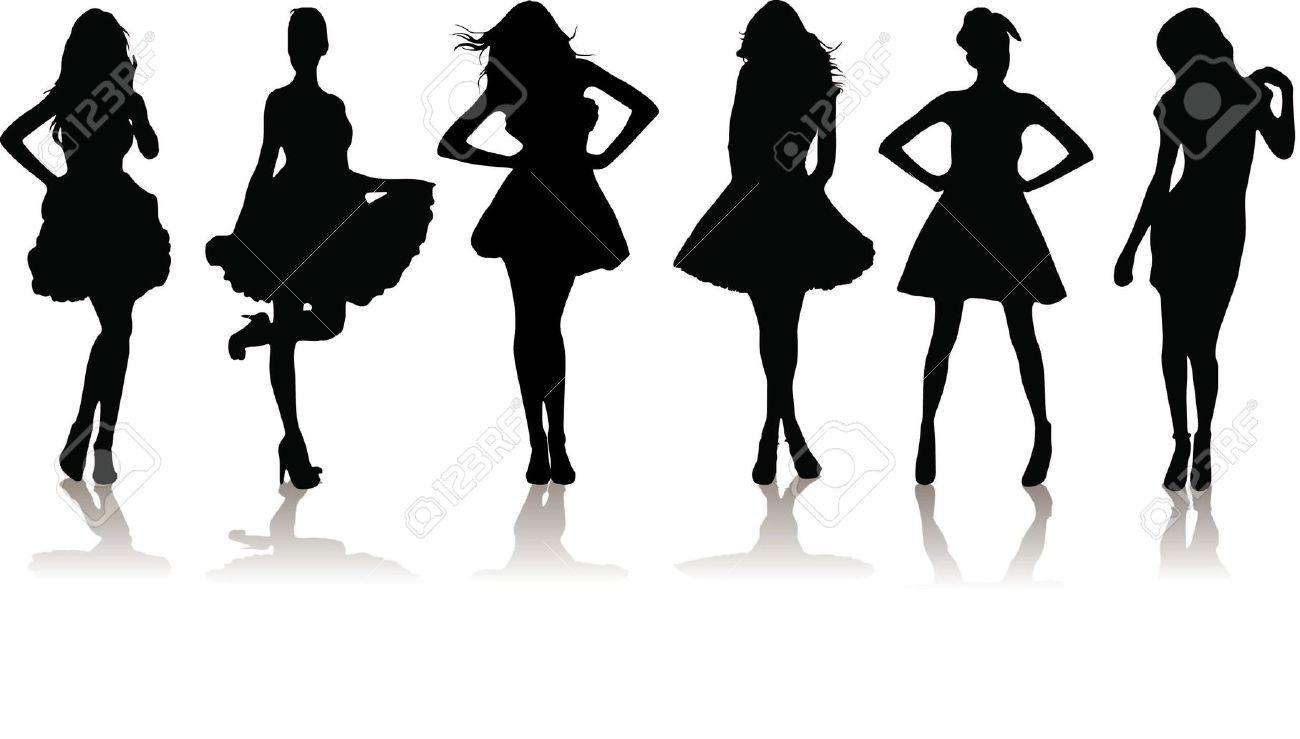 Fashion Model Silhouette Clip Art (66 ).