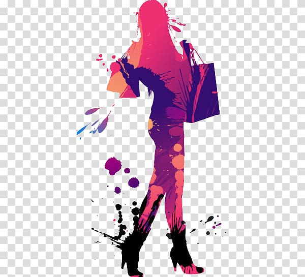 Women Fashion Model Woman , Colored female silhouette.