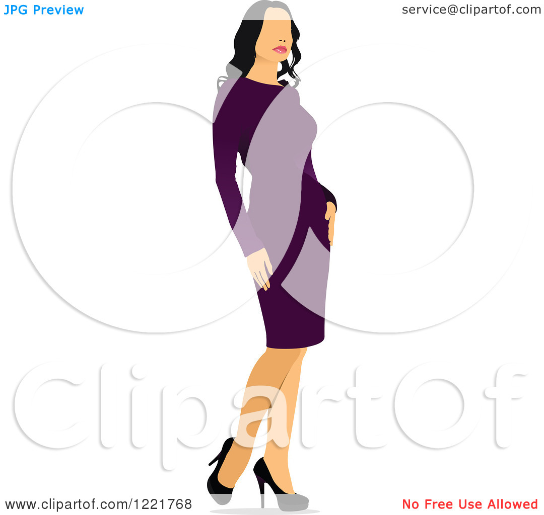 Clipart of a Woman Modeling Clothes.
