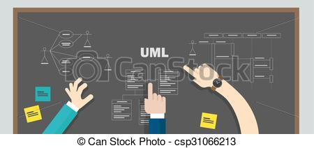 Vector Clip Art of uml unified modeling language teamwork design.
