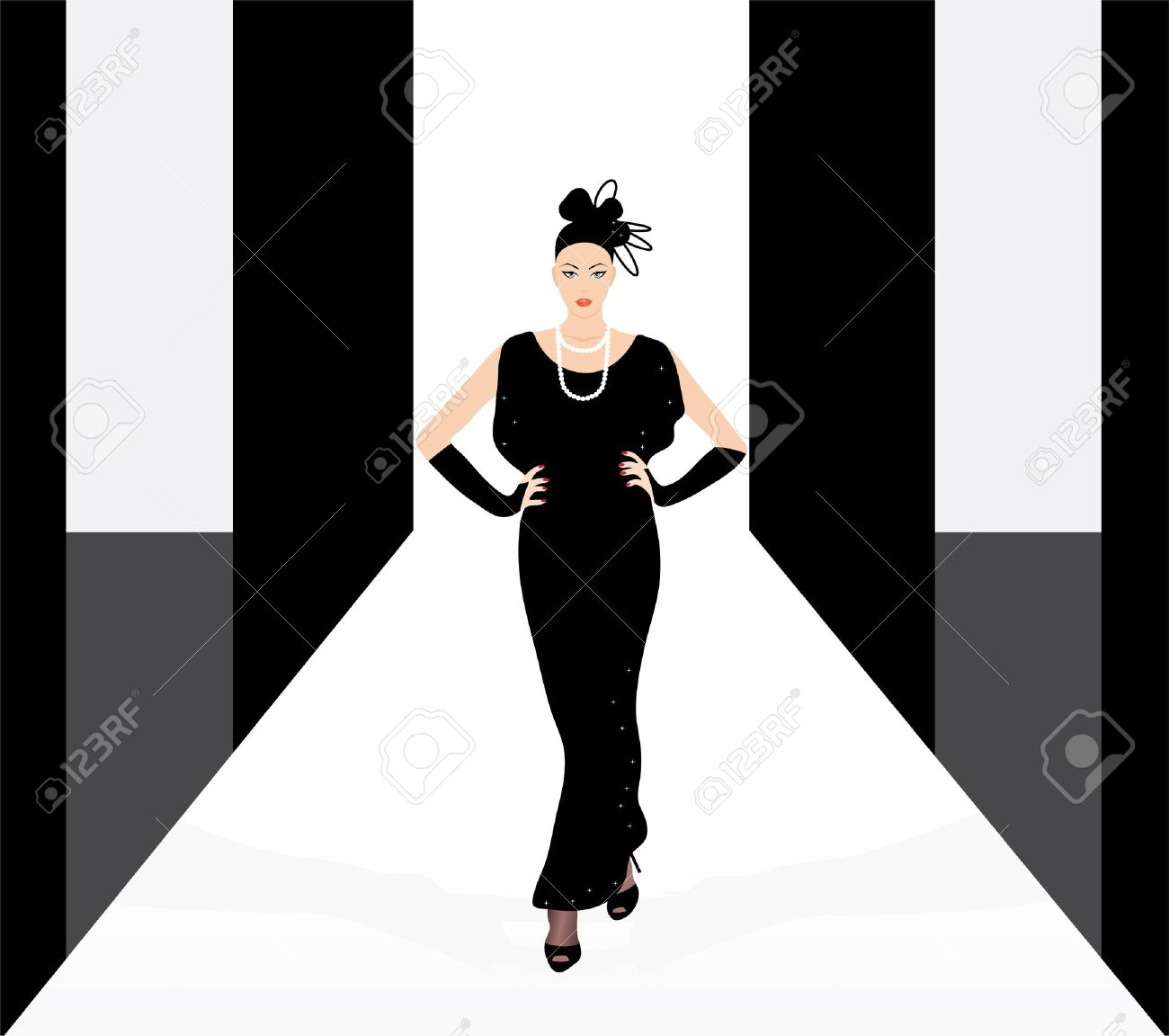 Fashion Model On The Podium Royalty Free Cliparts, Vectors, And.