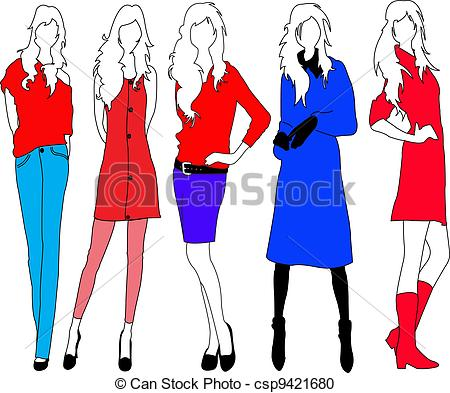 Vector Clipart of Fashion models..