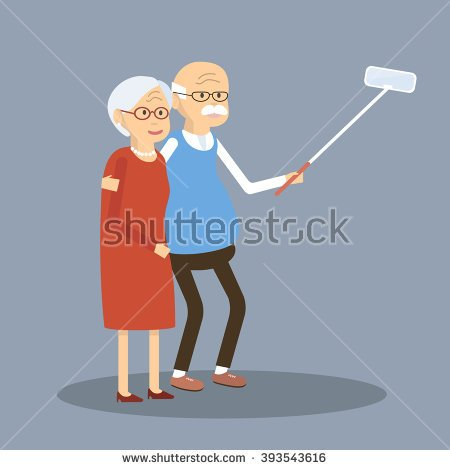 Old people using tech clipart.