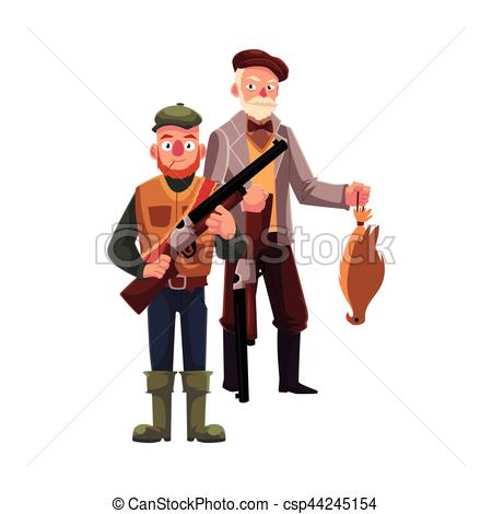 Clipart Vector of Two hunters, one modern, another old fashioned.