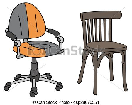 Clipart Vector of Modern and old office chairs.