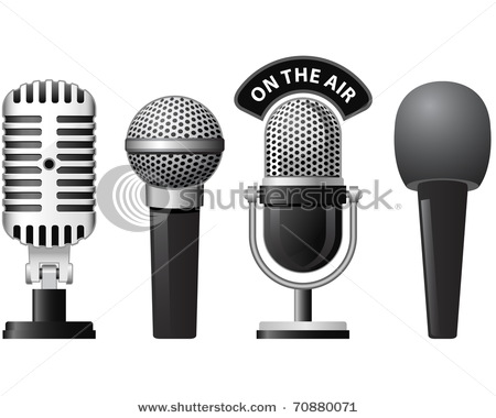 of Retro and Modern Microphones In Different Styles.