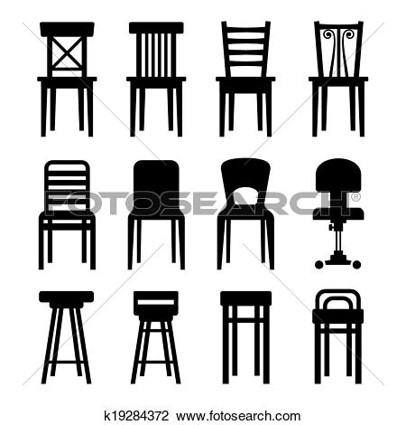 Clipart of Old, Modern, Office and Bar Chairs Set. Vector.