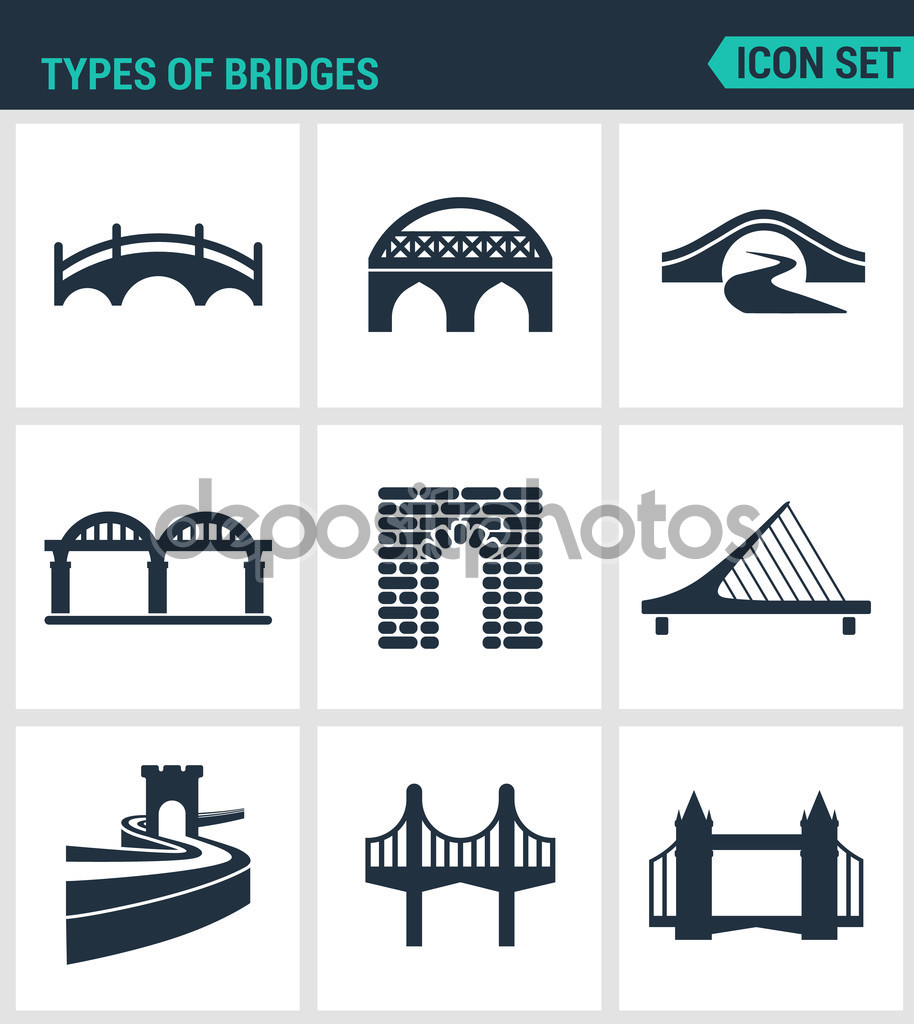 Set of modern vector icons. Types of bridges architecture.