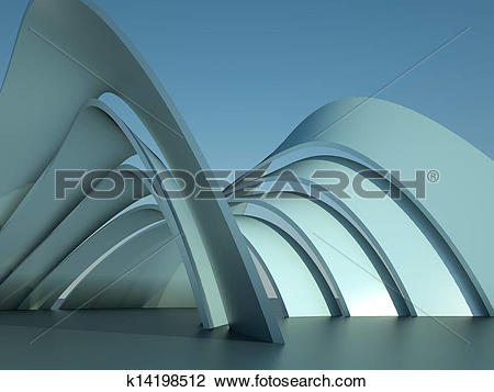 Clip Art of 3d illustration of a modern architecture building with.