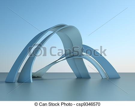 Stock Illustration of 3d illustration of a modern architecture.