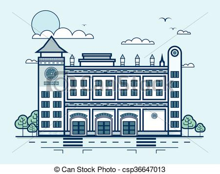 Vector Clip Art of city street with fire department, modern.