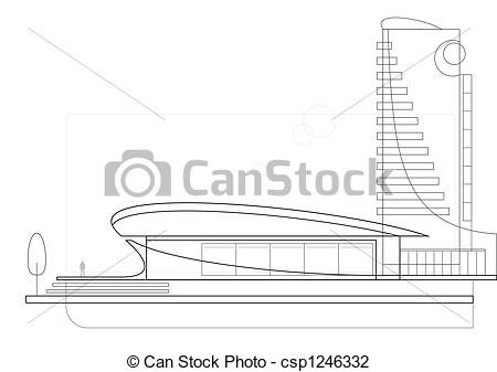 Clip Art of Modern architecture (drawing).