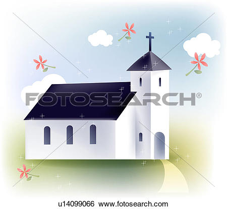 Clip Art of modern architecture, christianity, building, church.