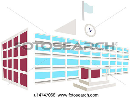 Clip Art of school, educational establishment, modern architecture.