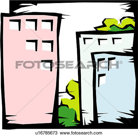 Clipart of modern architecture, structure, office building.