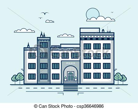 Vector of city street with police station, modern architecture in.