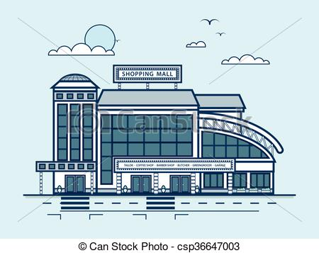 Vector Clipart of city street with Moll, shopping center, modern.