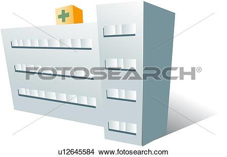 Clipart of hospital, modern architecture, logo, icon u12645584.
