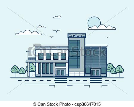 Vector Clip Art of city street with administrative building.