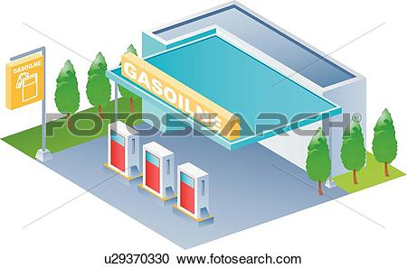 Clipart of Modern architecture, icons, Gas Station, buildings.