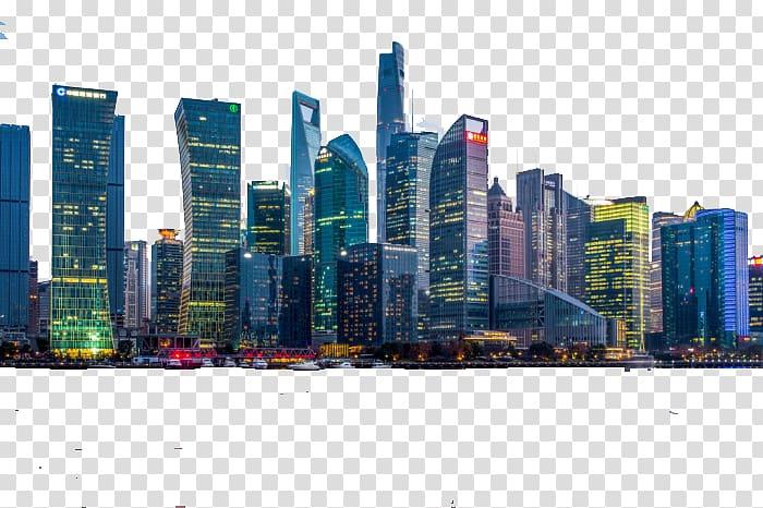 Light City Skyline, Modern City transparent background PNG.